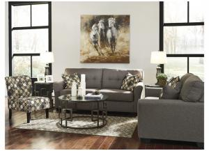 Tibbee Slate Sofa, Loveseat & Accent Chair w/Frostine Occasional 3-Piece Table Set