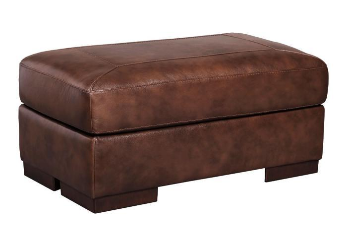 Islebrook Canyon Leather Ottoman,ASHUM