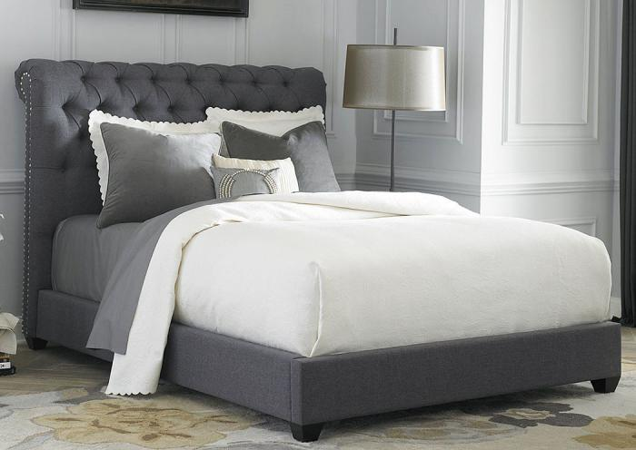 Underpriced furniture chesterfield gray upholstered king bed Bedroom furniture chesterfield