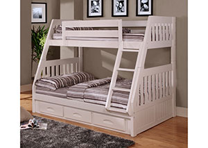 White Twin Over Full Bunkbed,DWFUM