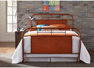 Vintage Metal Orange King Bed