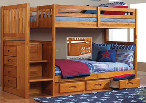 Honey Twin Over Twin Bunkbed with Stairs