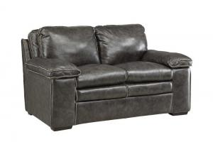 Regalvale Charcoal Leather Loveseat