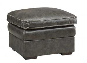 Regalvale Charcoal Leather Ottoman